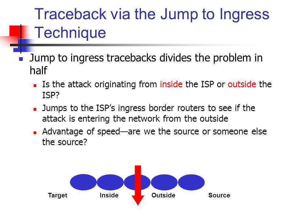 Traceback via the Jump to Ingress Technique Jump to ingress tracebacks divides the problem in half Is the attack originating from inside the ISP or ou