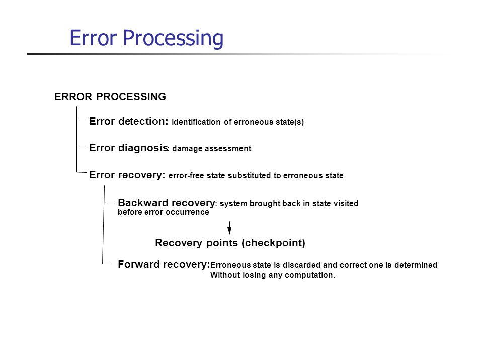 Error Processing ERROR PROCESSING Error recovery: error-free state substituted to erroneous state Error detection: identification of erroneous state(s