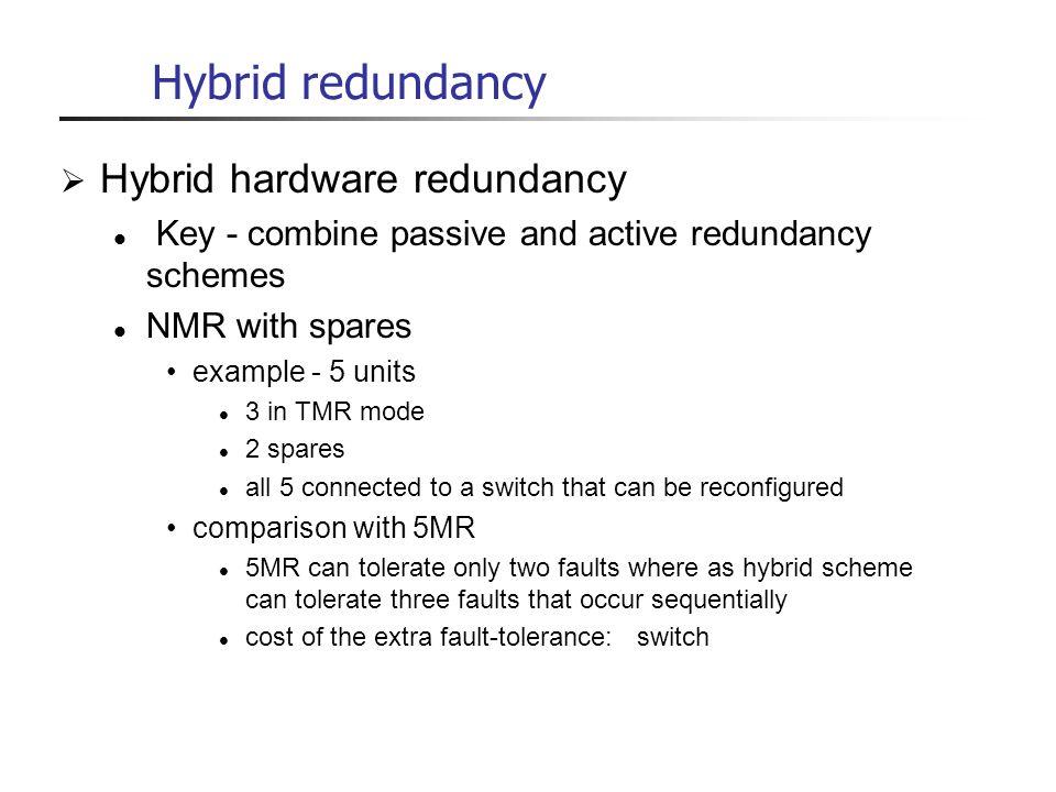 Hybrid redundancy Hybrid hardware redundancy Key - combine passive and active redundancy schemes NMR with spares example - 5 units 3 in TMR mode 2 spa