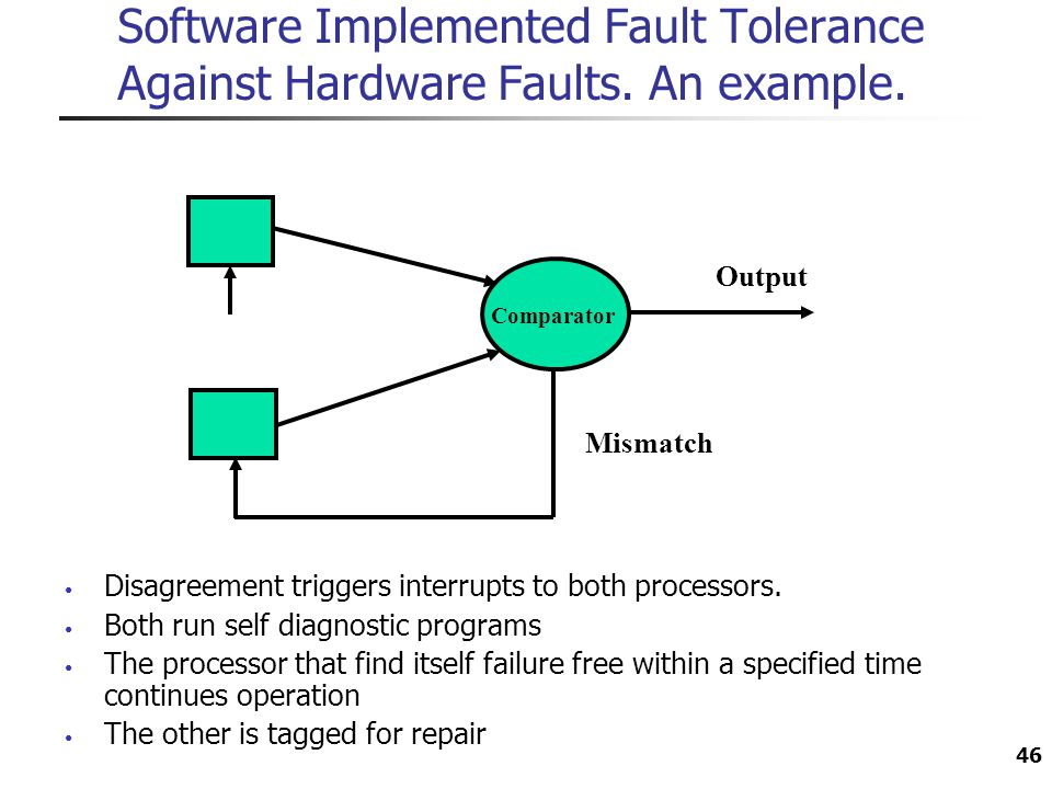 Software Implemented Fault Tolerance Against Hardware Faults. An example. 46 Disagreement triggers interrupts to both processors. Both run self diagno