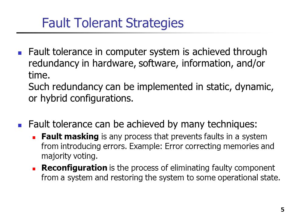 6 Reconfiguration Approach Fault detection is the process of recognizing that a fault has occurred.