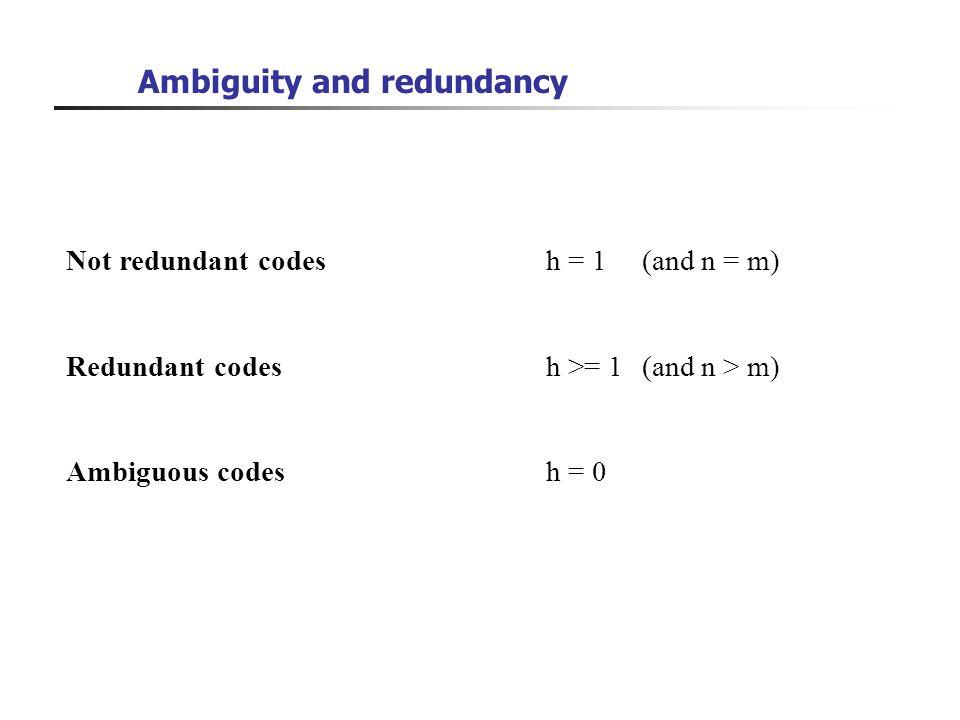 Ambiguity and redundancy Not redundant codesh = 1 (and n = m) Redundant codes h >= 1 (and n > m) Ambiguous codesh = 0