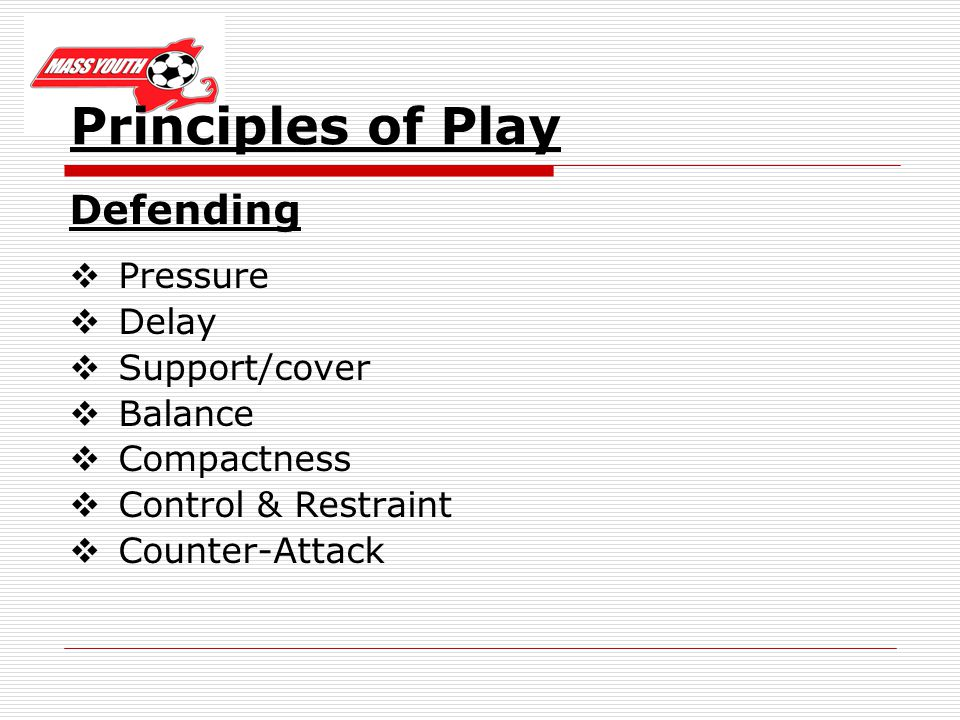 Principles of Play Defending Pressure Delay Support/cover Balance Compactness Control & Restraint Counter-Attack
