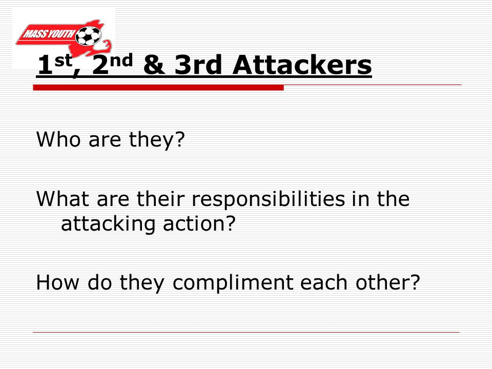 1 st, 2 nd & 3rd Attackers Who are they. What are their responsibilities in the attacking action.