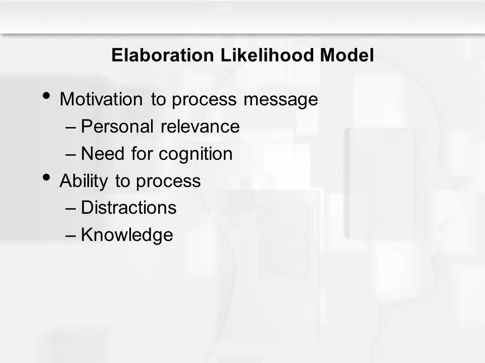 Elaboration Likelihood Model Motivation to process message –Personal relevance –Need for cognition Ability to process –Distractions –Knowledge