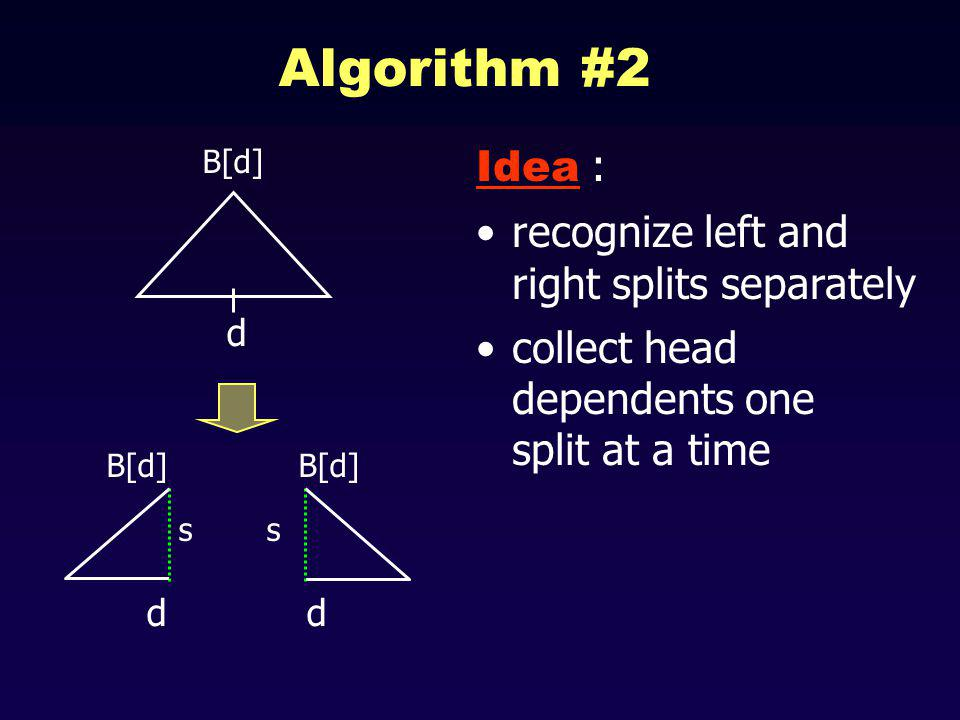 Algorithm #2 Idea : recognize left and right splits separately collect head dependents one split at a time B[d] d d s s d