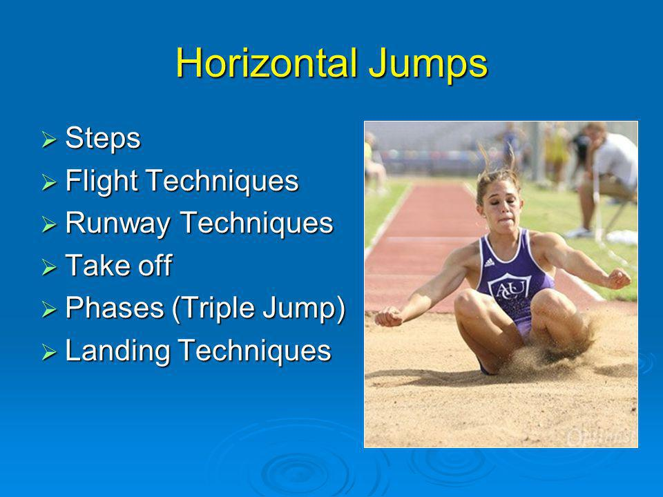 Horizontal Jumps Steps Steps Flight Techniques Flight Techniques Runway Techniques Runway Techniques Take off Take off Phases (Triple Jump) Phases (Triple Jump) Landing Techniques Landing Techniques