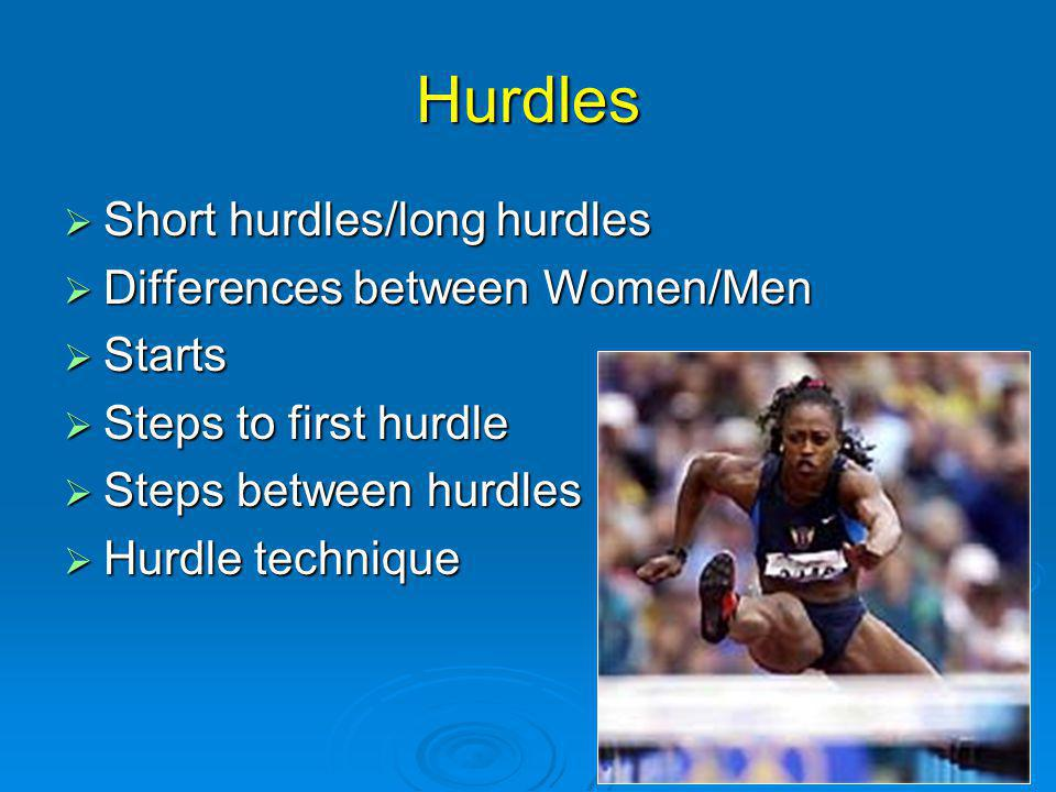 Hurdles Short hurdles/long hurdles Short hurdles/long hurdles Differences between Women/Men Differences between Women/Men Starts Starts Steps to first hurdle Steps to first hurdle Steps between hurdles Steps between hurdles Hurdle technique Hurdle technique