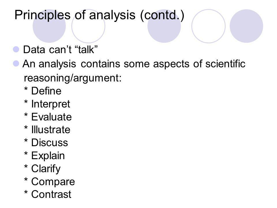 Data cant talk An analysis contains some aspects of scientific reasoning/argument: * Define * Interpret * Evaluate * Illustrate * Discuss * Explain *