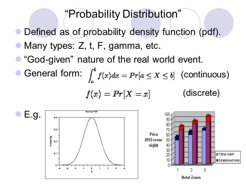 Probability Distribution Defined as of probability density function (pdf). Many types: Z, t, F, gamma, etc. God-given nature of the real world event.