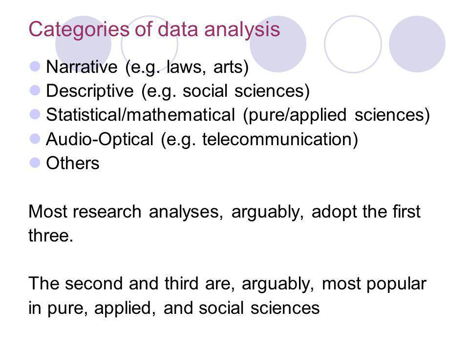 Categories of data analysis Narrative (e.g.laws, arts) Descriptive (e.g.