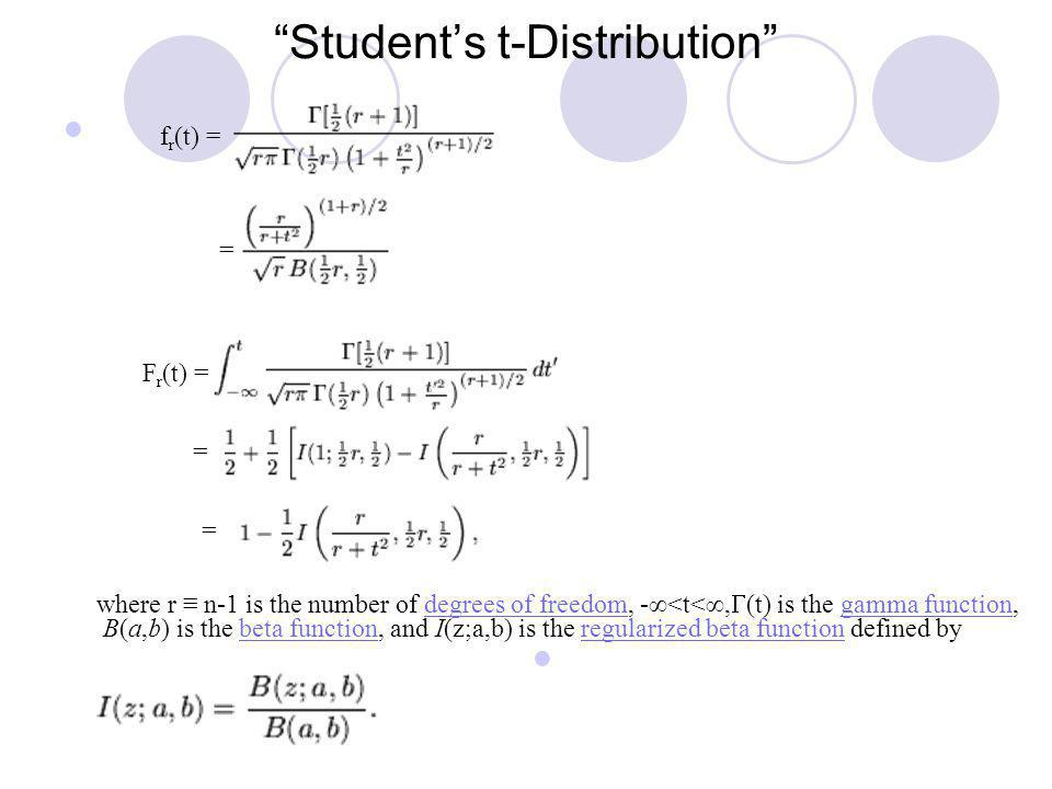 Students t-Distribution where r n-1 is the number of degrees of freedom, -<t<, (t) is the gamma function, B(a,b) is the beta function, and I(z;a,b) is