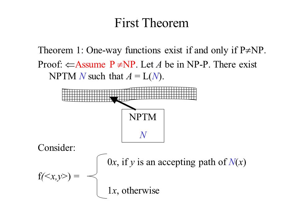 UP, UP k Definitions L UP iff there is a NDTM N, that: –accepts L, –N(x) has exactly 1 accepting path for x L, L is in UP k iff there is a NDTM N that: –accepts L, –N(x) has at most k accepting paths for x L.