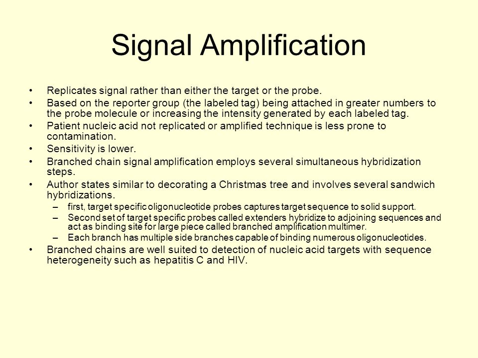 Signal Amplification Replicates signal rather than either the target or the probe.
