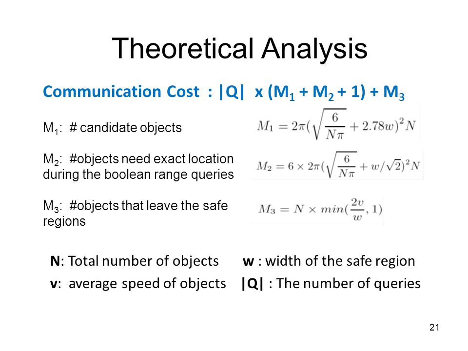 Theoretical Analysis Communication Cost : |Q| x (M 1 + M 2 + 1) + M 3 M 1 : # candidate objects M 2 : #objects need exact location during the boolean range queries M 3 : #objects that leave the safe regions 21 N: Total number of objects w : width of the safe region v: average speed of objects |Q| : The number of queries