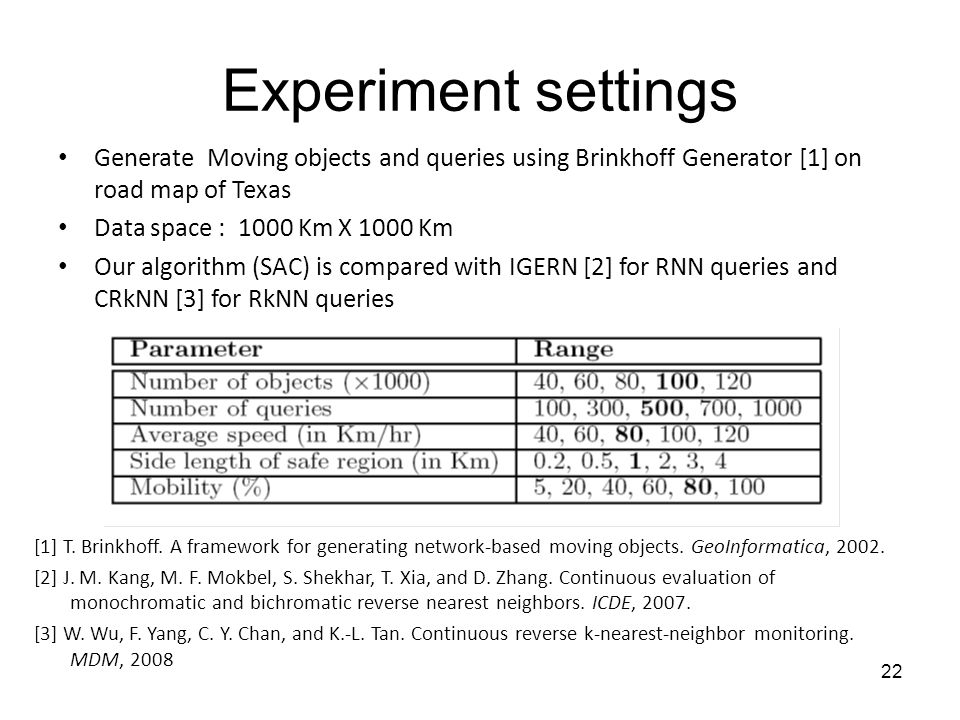 Experiment settings Generate Moving objects and queries using Brinkhoff Generator [1] on road map of Texas Data space : 1000 Km X 1000 Km Our algorithm (SAC) is compared with IGERN [2] for RNN queries and CRkNN [3] for RkNN queries [1] T.