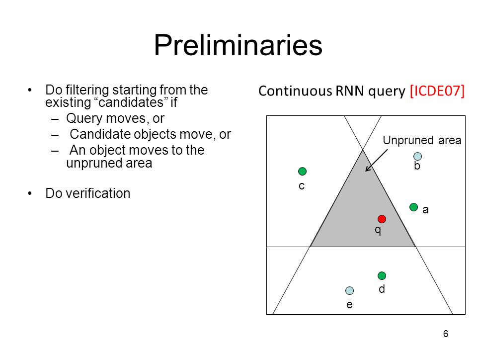 Preliminaries Do filtering starting from the existing candidates if –Query moves, or – Candidate objects move, or – An object moves to the unpruned area Do verification q c b a d e Continuous RNN query [ICDE07] 6 Unpruned area