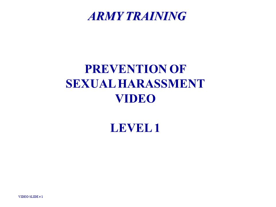 ARMY TRAINING PREVENTION OF SEXUAL HARASSMENT VIDEO LEVEL 1 VIDEO SLIDE # 1