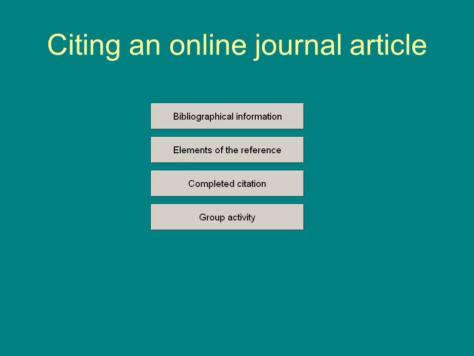 Citing an online journal article