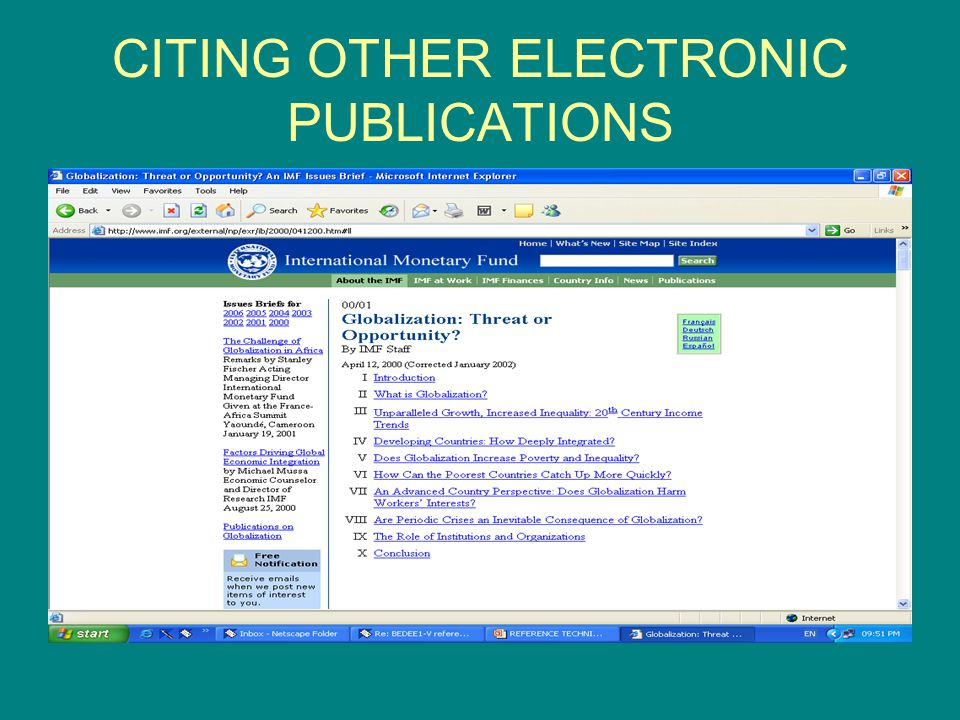 CITING OTHER ELECTRONIC PUBLICATIONS