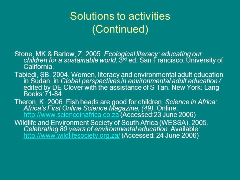 Solutions to activities (Continued) Stone, MK & Barlow, Z.