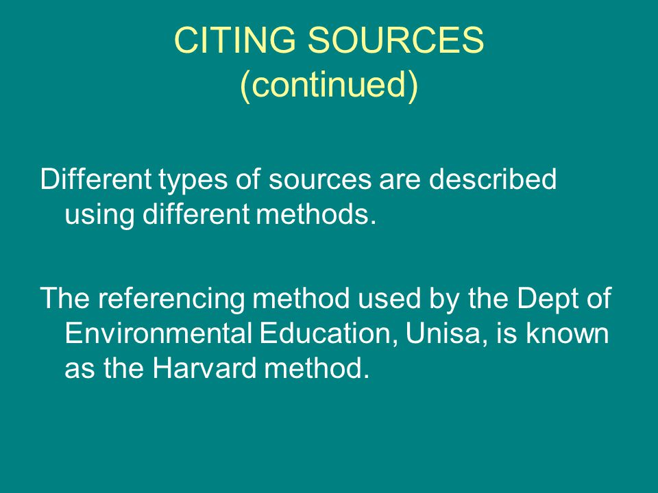 CITING BOOKS Books are separately published monographs A reference for a book includes the following elements (in this order): Author(s) name(s) and initials Date of publication Title of the book (underlined / italics) Edition Place of publication: Publisher.