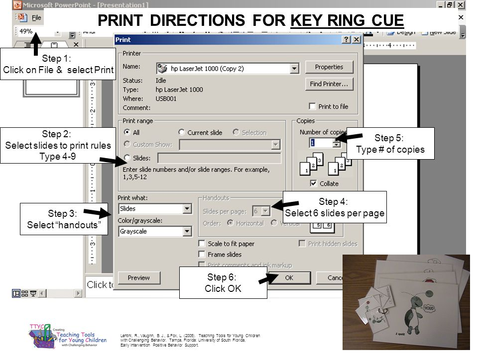 PRINT DIRECTIONS FOR KEY RING CUE Step 2: Select slides to print rules Type 4-9 Step 3: Select handouts Step 5: Type # of copies Step 1: Click on File