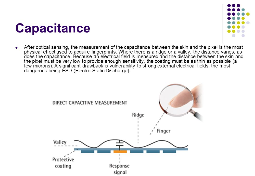 Capacitance After optical sensing, the measurement of the capacitance between the skin and the pixel is the most physical effect used to acquire finge