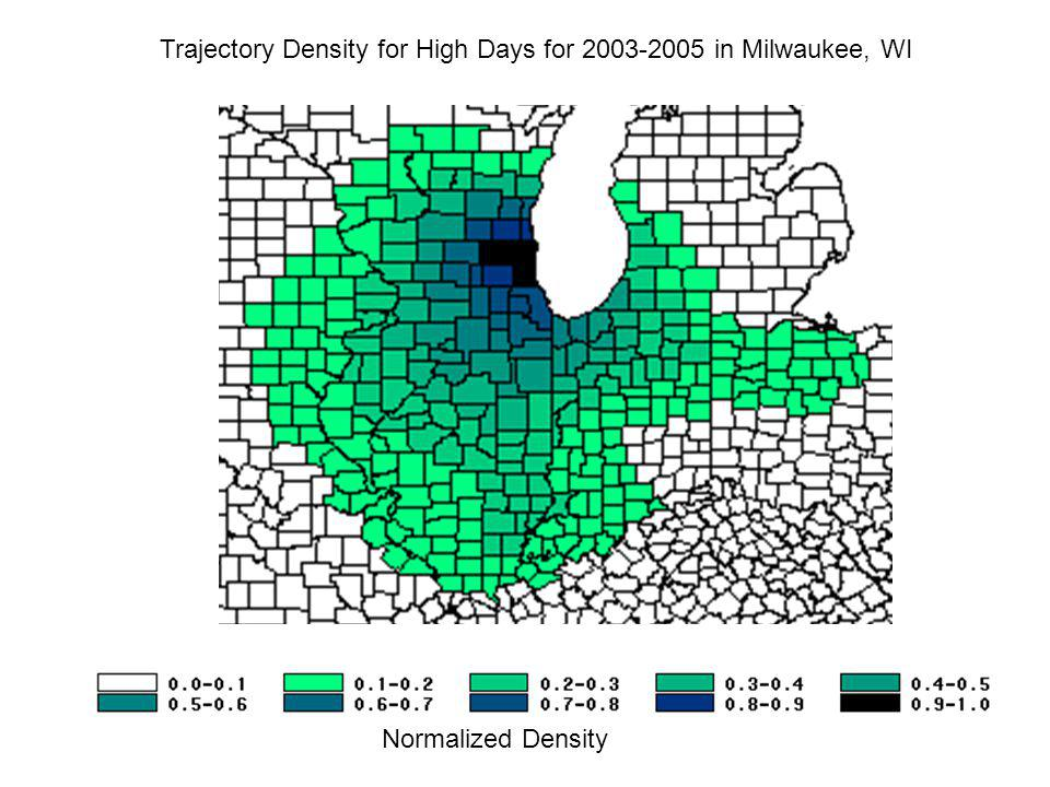 Trajectory Density for High Days for 2003-2005 in Milwaukee, WI Normalized Density