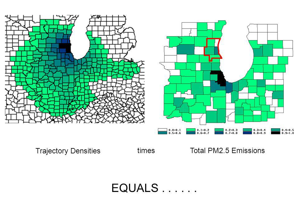 Trajectory Densities Total PM2.5 Emissions EQUALS...... times