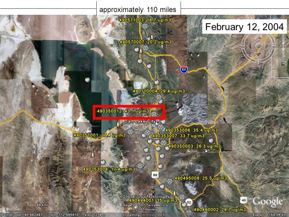 approximately 110 miles February 12, 2004