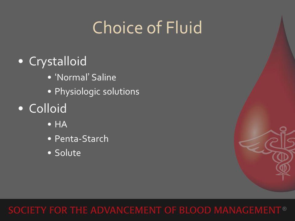 Choice of Fluid Crystalloid Normal Saline Physiologic solutions Colloid HA Penta-Starch Solute
