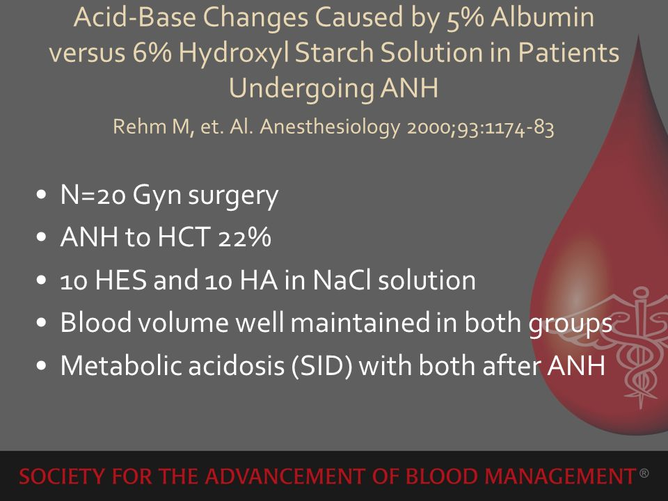 Acid-Base Changes Caused by 5% Albumin versus 6% Hydroxyl Starch Solution in Patients Undergoing ANH Rehm M, et. Al. Anesthesiology 2000;93:1174-83 N=