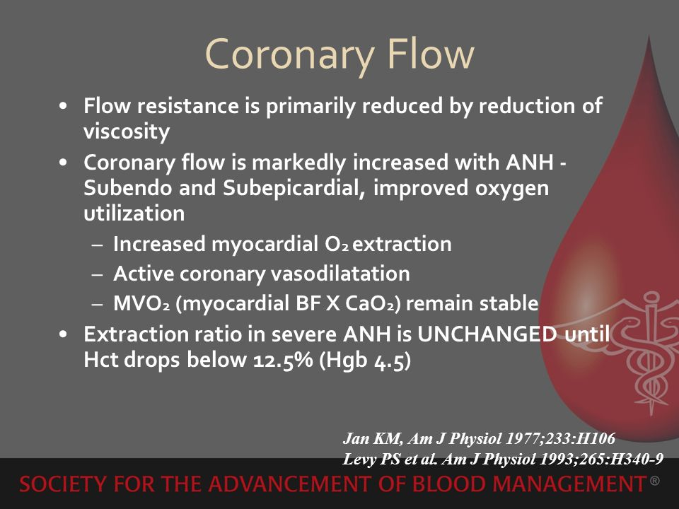 Coronary Flow Flow resistance is primarily reduced by reduction of viscosity Coronary flow is markedly increased with ANH - Subendo and Subepicardial,