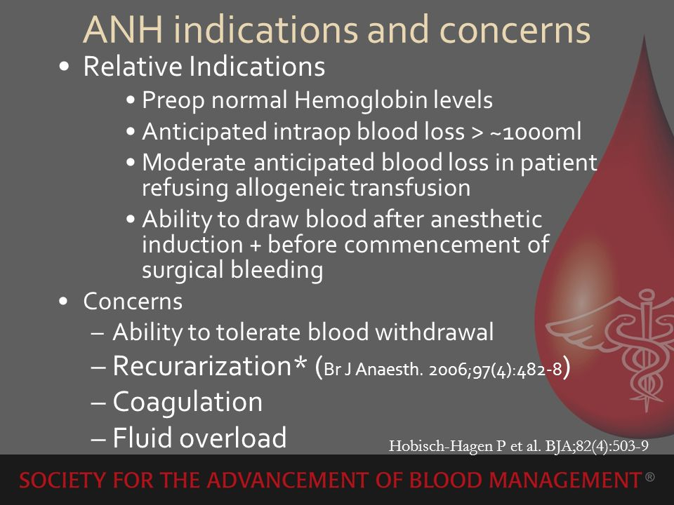 Outcome Measurement in Blood Conservation (ANH) Reduced blood loss –Statistically significant reduction of blood loss –Clinically significant reduction of blood loss Reduced blood loss and or eliminate patients exposure to allogeneic transfusions Reduced or eliminate transfusions alone Morbidity – perioperative infection, SIRS or MOF Mortality