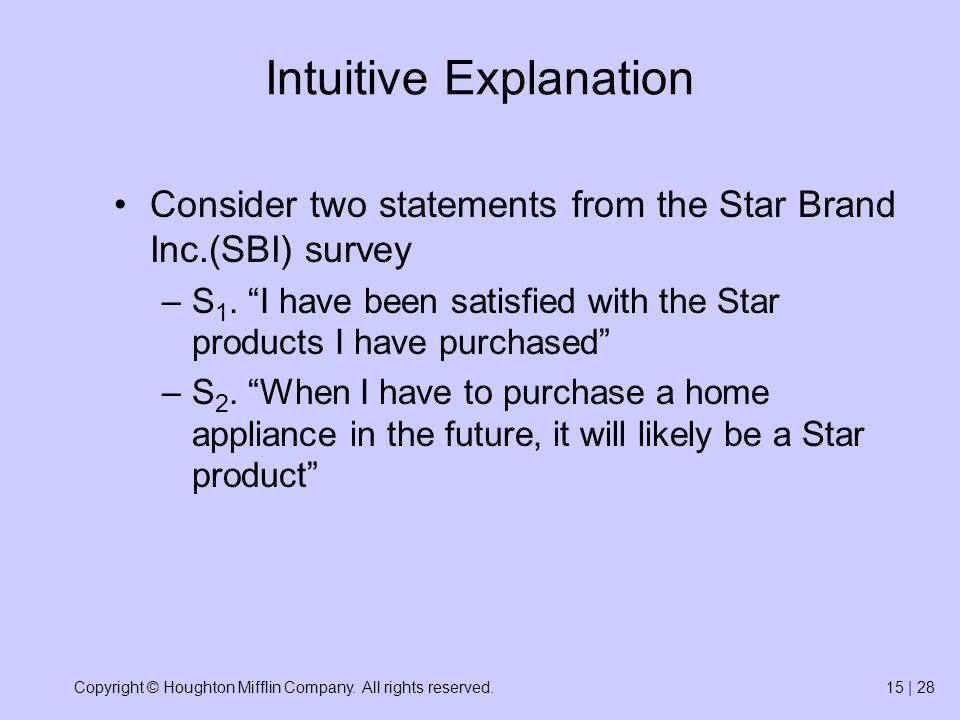 Copyright © Houghton Mifflin Company. All rights reserved.15 | 28 Intuitive Explanation Consider two statements from the Star Brand Inc.(SBI) survey –