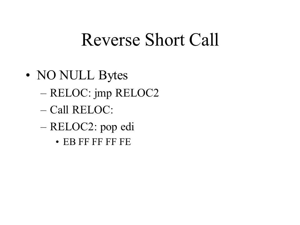Reverse Short Call NO NULL Bytes –RELOC: jmp RELOC2 –Call RELOC: –RELOC2: pop edi EB FF FF FF FE