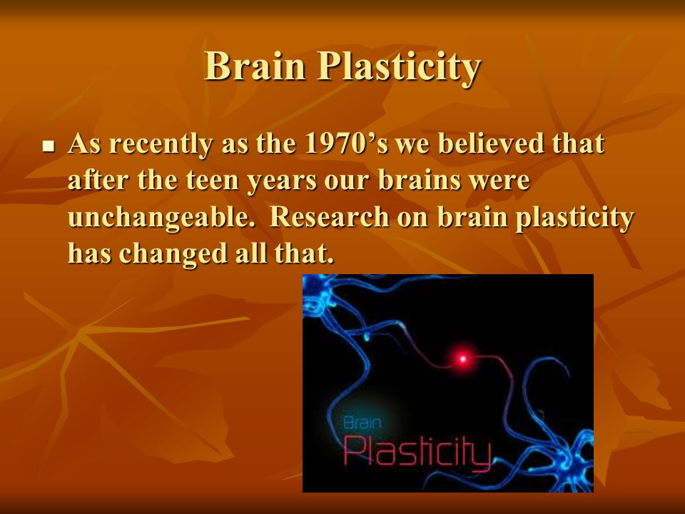 Brain Plasticity As recently as the 1970s we believed that after the teen years our brains were unchangeable. Research on brain plasticity has changed