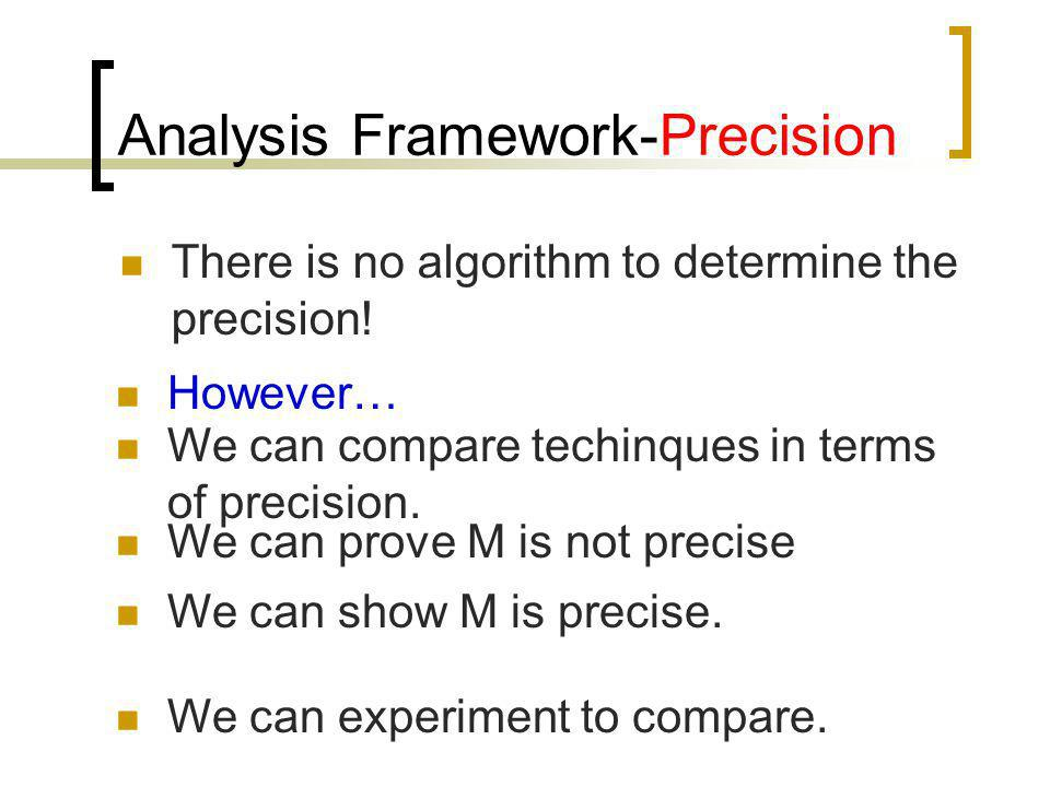 There is no algorithm to determine the precision! However… We can compare techinques in terms of precision. We can prove M is not precise We can show