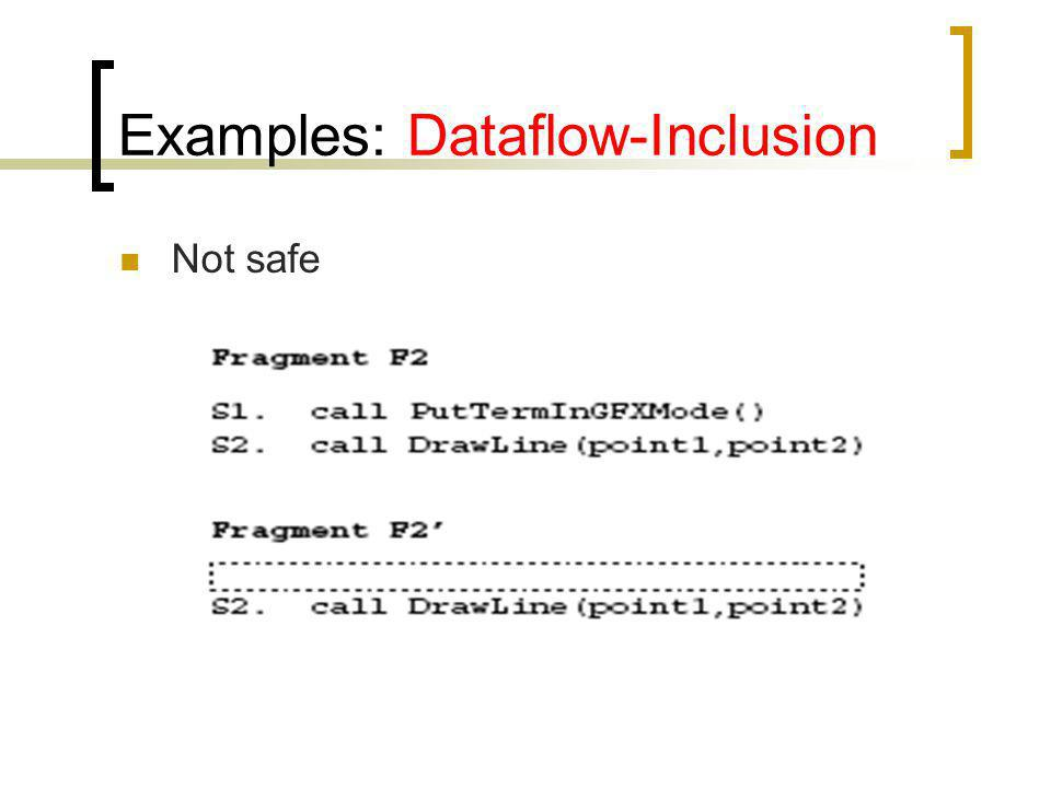 Examples: Dataflow-Inclusion Not safe