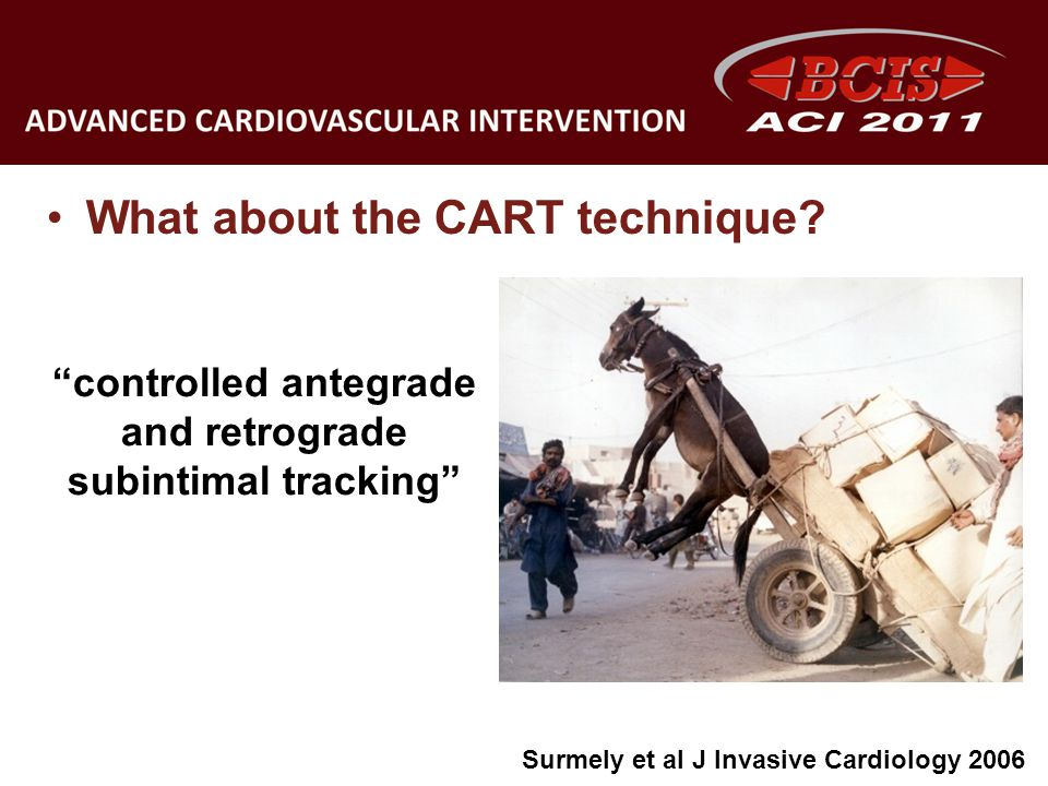 What about the CART technique? controlled antegrade and retrograde subintimal tracking Surmely et al J Invasive Cardiology 2006