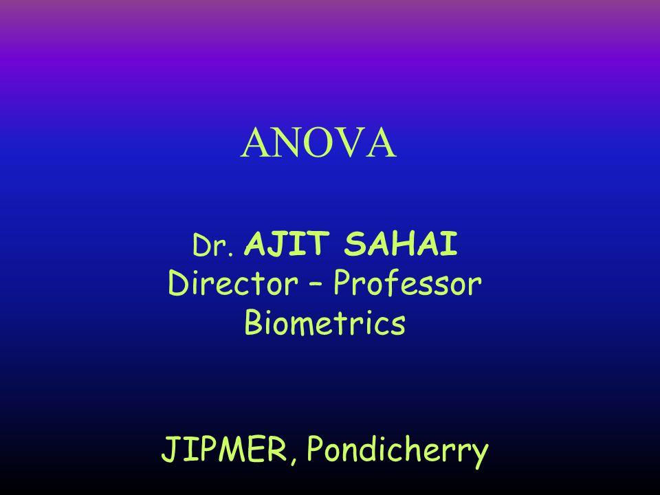 ANOVA Dr. AJIT SAHAI Director – Professor Biometrics JIPMER, Pondicherry