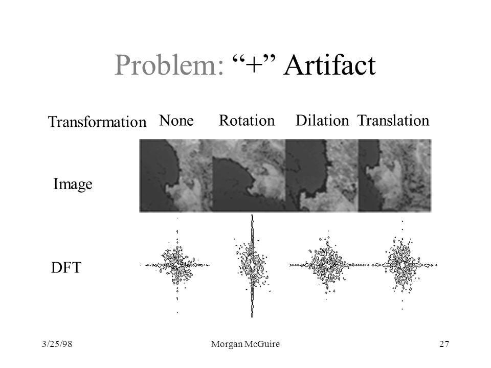 3/25/98Morgan McGuire27 Problem: + Artifact None Rotation Dilation Translation Transformation DFT Image