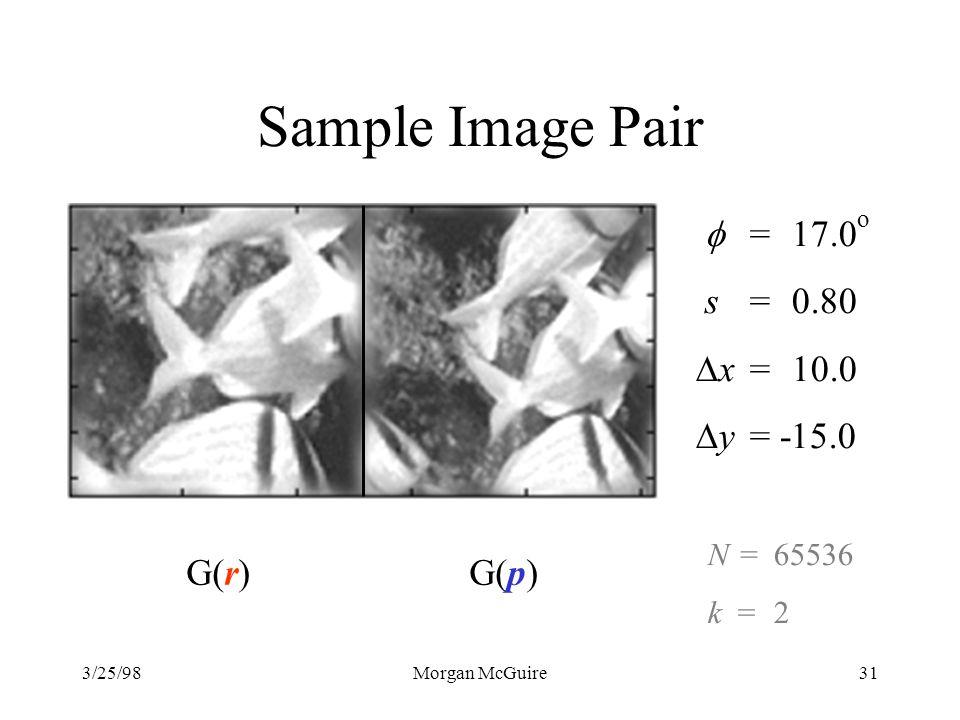 3/25/98Morgan McGuire31 Sample Image Pair G(r)G(p) =17.0 o s =0.80 x =10.0 y = -15.0 N=65536 k=2