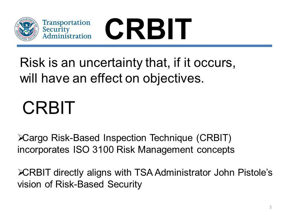 Provide a Risk-Based Security (RBS) system for Transportation Security Inspectors (TSI) in the field to be able to detect and focus on higher risk cargo that may require additional scrutiny A flexible, proactive process focusing on cargo that is waiting to be transported on an aircraft Allows the Inspectors to be both Security Providers and Regulators CRBIT: Purpose CRBIT 6
