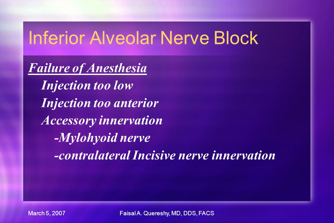 March 5, 2007Faisal A. Quereshy, MD, DDS, FACS Inferior Alveolar Nerve Block Failure of Anesthesia Injection too low Injection too anterior Accessory