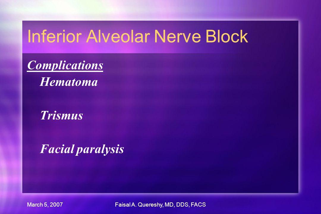 March 5, 2007Faisal A. Quereshy, MD, DDS, FACS Inferior Alveolar Nerve Block Complications Hematoma Trismus Facial paralysis Complications Hematoma Tr