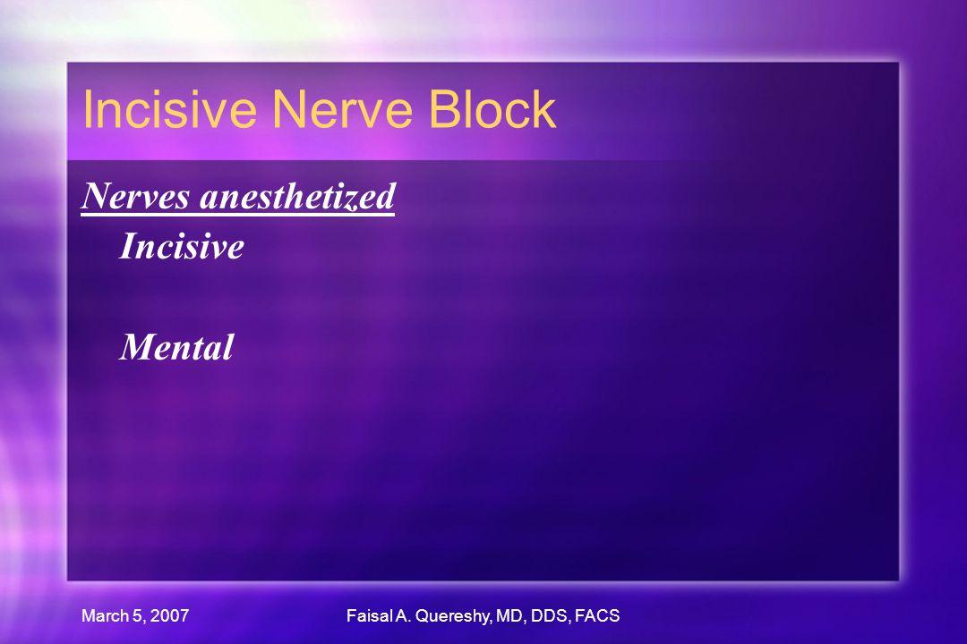 March 5, 2007Faisal A. Quereshy, MD, DDS, FACS Incisive Nerve Block Nerves anesthetized Incisive Mental Nerves anesthetized Incisive Mental