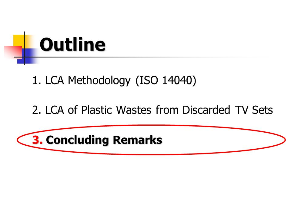 Outline 1. LCA Methodology (ISO 14040) 2. LCA of Plastic Wastes from Discarded TV Sets 3.