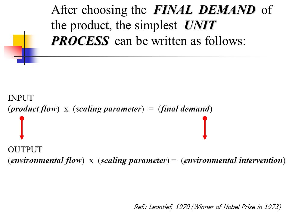 INPUT (product flow) x (scaling parameter) = (final demand) FINAL DEMAND UNIT PROCESS After choosing the FINAL DEMAND of the product, the simplest UNIT PROCESS can be written as follows:OUTPUT (environmental flow) x (scaling parameter) = (environmental intervention) Ref.: Leontief, 1970 (Winner of Nobel Prize in 1973)